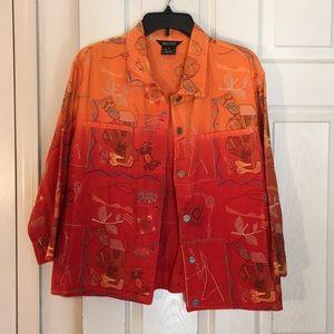 Multiples denim orange hombre jacket